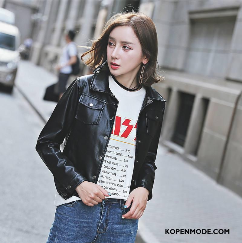 Leren Jassen Dames Voorjaar Verbinding Trend 2018 Mode Elegante Effen Kleur Zwart