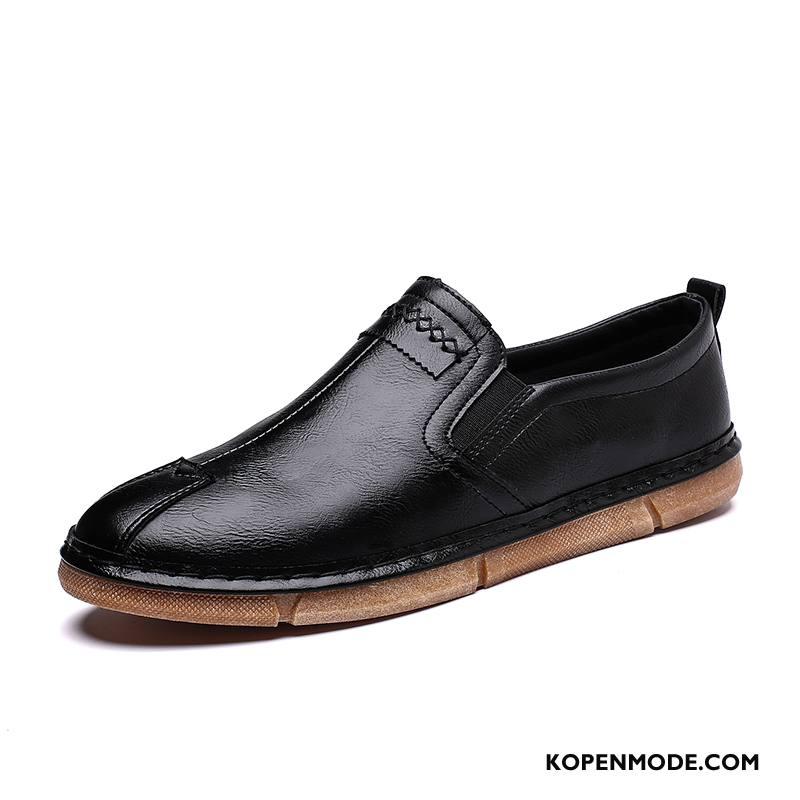 Leren Schoenen Heren Ademende Zomer Bootschoenen Trend Casual Mannen Zwart