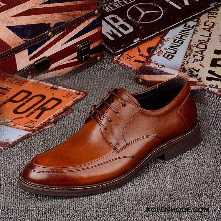 Leren Schoenen Heren Hete Verkoop Geklede Pumps Bedrijf Merken Mode Bruine