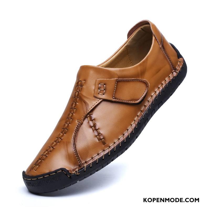 Leren Schoenen Heren Mode Mannen Casual Leer Trend Herfst Bruine