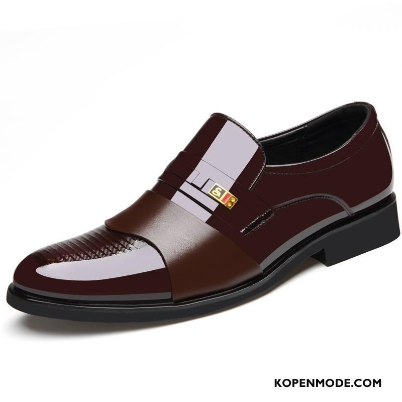 Leren Schoenen Heren Pumps Mannen Mode Sleehak Brits Geklede Rood
