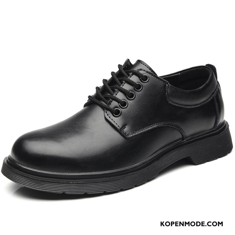 Leren Schoenen Heren Verhogende Mannen Groot Casual Laars Trend Zwart