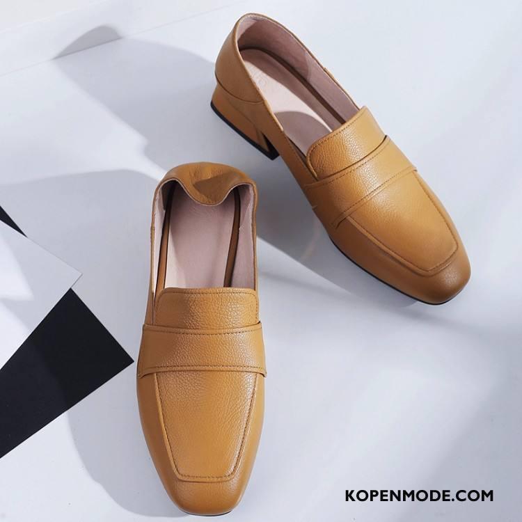 Mocassins Dames Herfst Schoenen Leren Schoenen Vintage Loafers Mode Abrikoos Kleur
