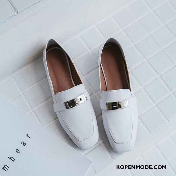 Mocassins Dames Leer Echt Leer Comfortabele Vrouwen Loafers Schoenen Wit