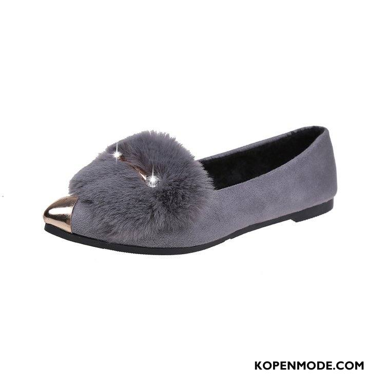 Mocassins Dames Platte Zool Loafers Schoenen Punt Mode 2018 Grijs Gouden Licht