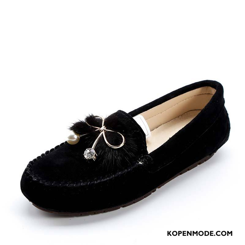 Mocassins Dames Pumps Schoenen Plat Bootschoenen Slip On Voorjaar Zwart