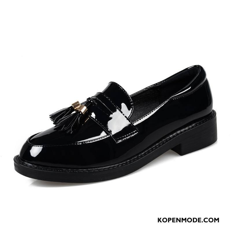 Mocassins Dames Ronde Kop Brits Loafers Schoenen Voorjaar Vrouwen Zwart