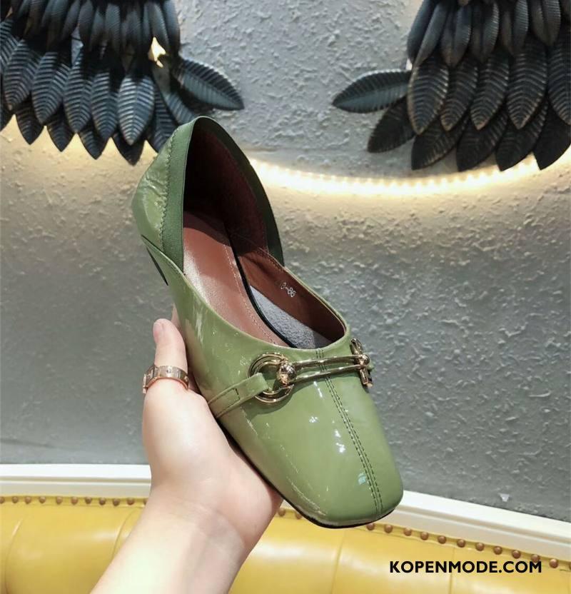 Mocassins Dames Schoenen Loafers Slip On Leer 2018 Ademende Licht Groen