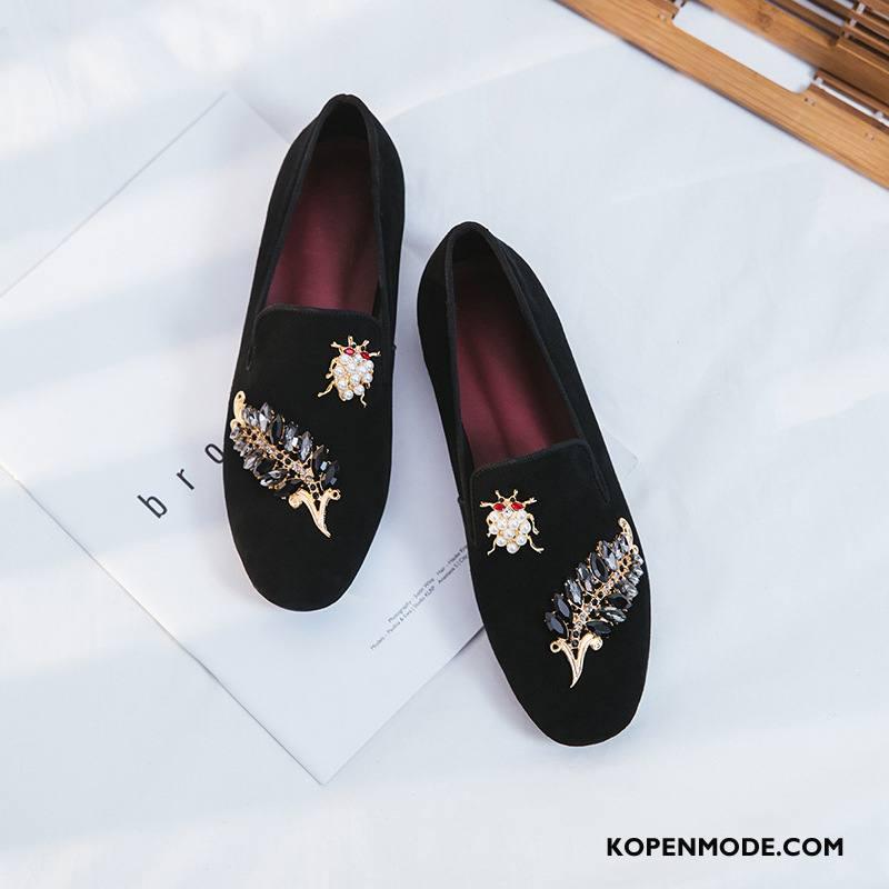 Mocassins Dames Vintage Echt Leer Casual Met Strass Loafers 2018 Zwart Licht
