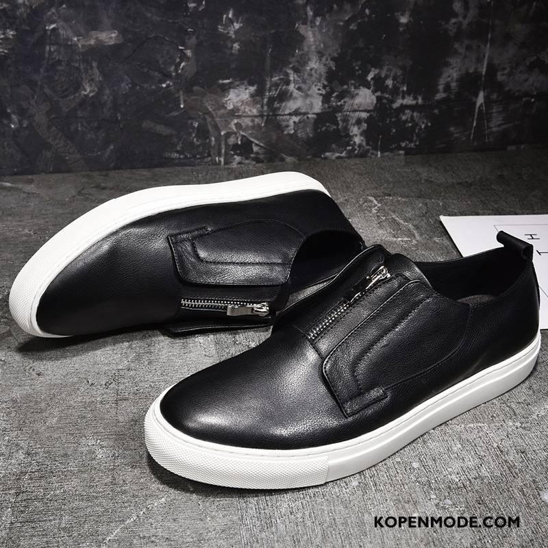 Mocassins Heren 2018 Slip On Trend Echt Leer Loafers Schoenen Zwart
