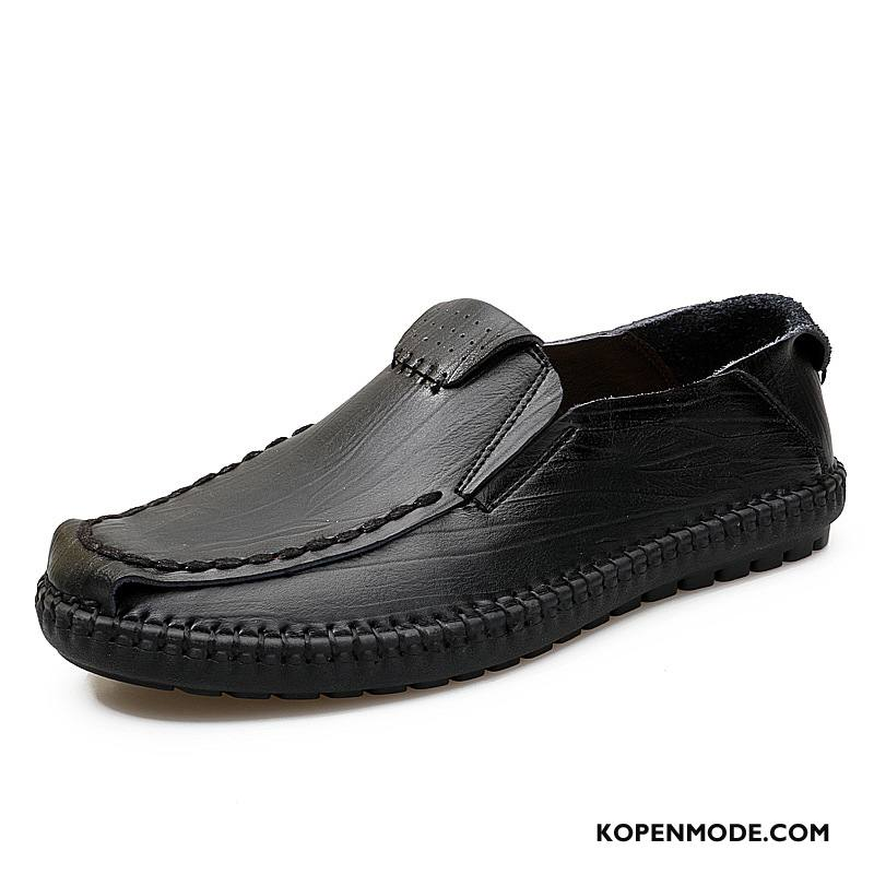 Mocassins Heren Casual Echt Leer Trend Mannen Mode Loafers Zwart