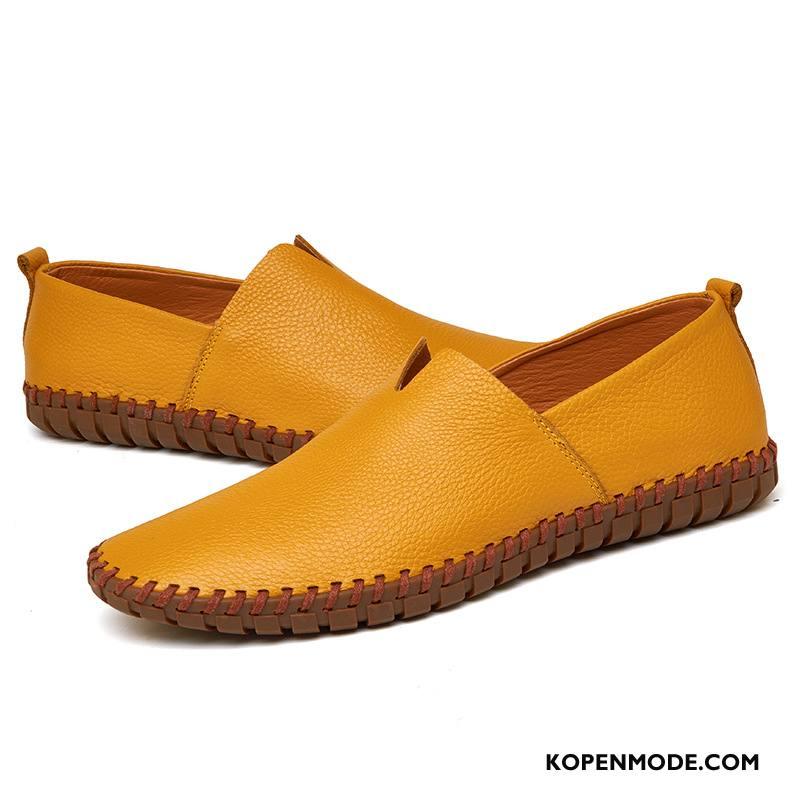 Mocassins Heren Mannen Grote Maten Schoenen Loafers Leer Verkoop Geel