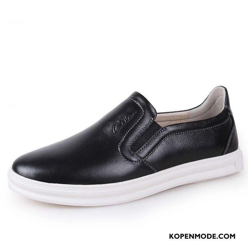 Mocassins Heren Skateboard Schoenen Casual Loafers Mannen Leren Schoenen Echt Leer Wit Zwart