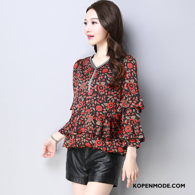 Overhemden Dames 2018 Blouse Overhemd Dunne Lang Mouw Zoet Rood