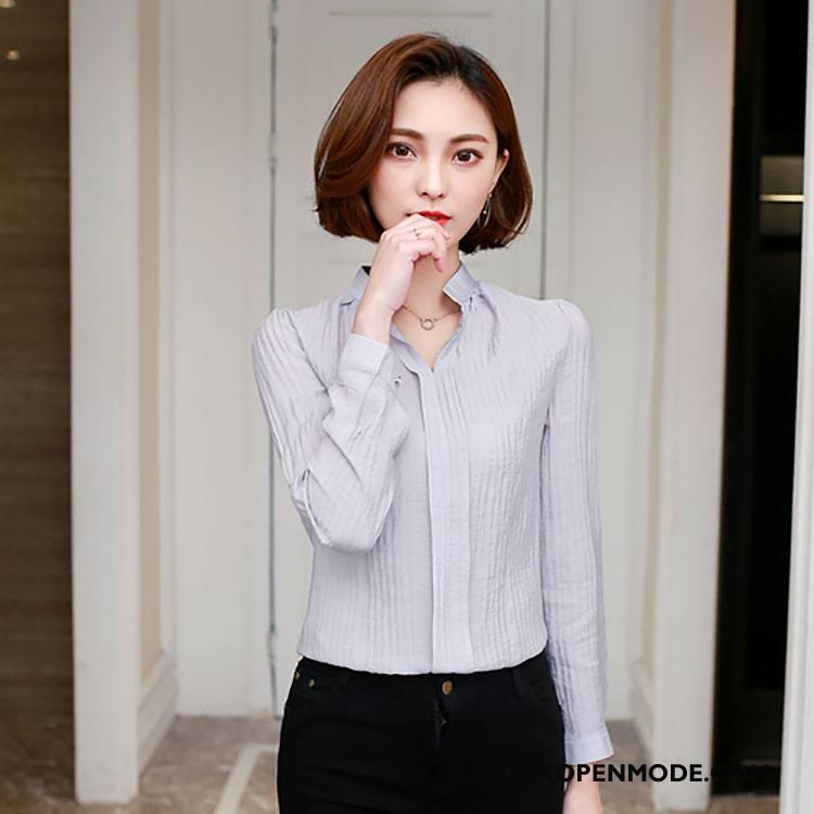 Overhemden Dames 2018 Blouse Overhemd Voorjaar Elegante Mode Lange Mouwen Grijs