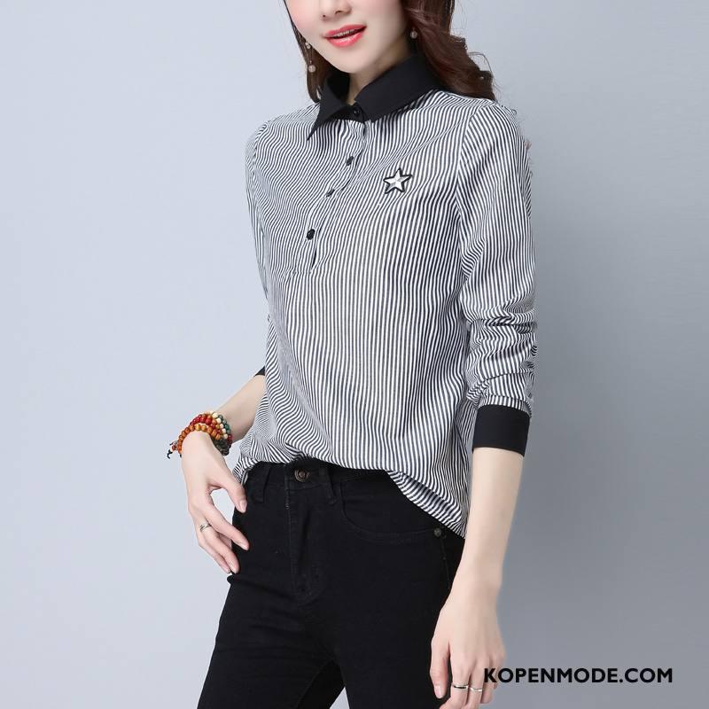 Overhemden Dames 2018 Streep Trend Voorjaar Blouse Overhemd Mode Grijs