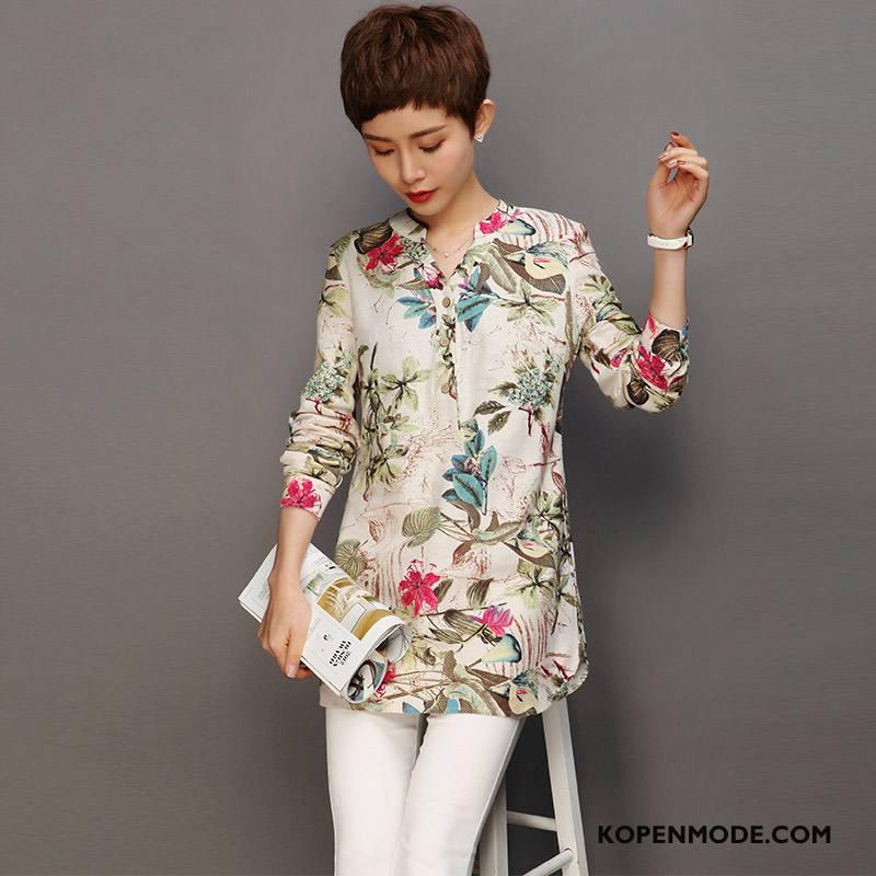 Overhemden Dames Bedrukken Elegante 2018 Mouw Straat Mode Kleur