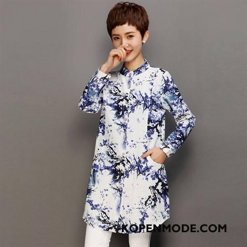 Overhemden Dames Bedrukken Lang Blouse Overhemd Lange Mouwen Hoge Kraag Mode Blauw
