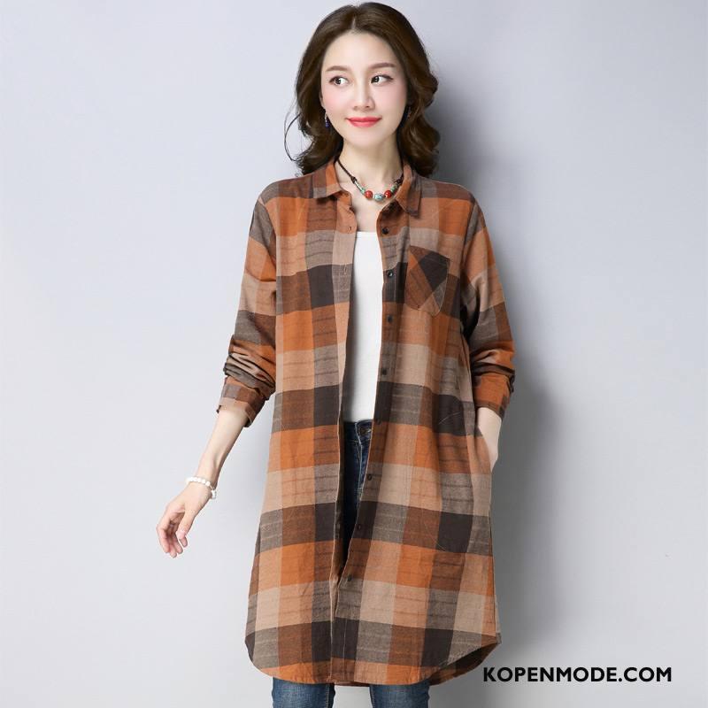 Overhemden Dames Blouse Overhemd 2018 Mode Lang Voorjaar Comfortabele Geel