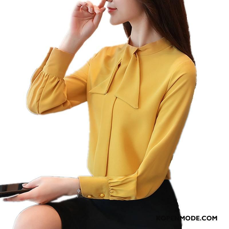 Overhemden Dames Blouse Overhemd Elegante Casual Mode Voorjaar Lange Mouwen Effen Kleur Geel