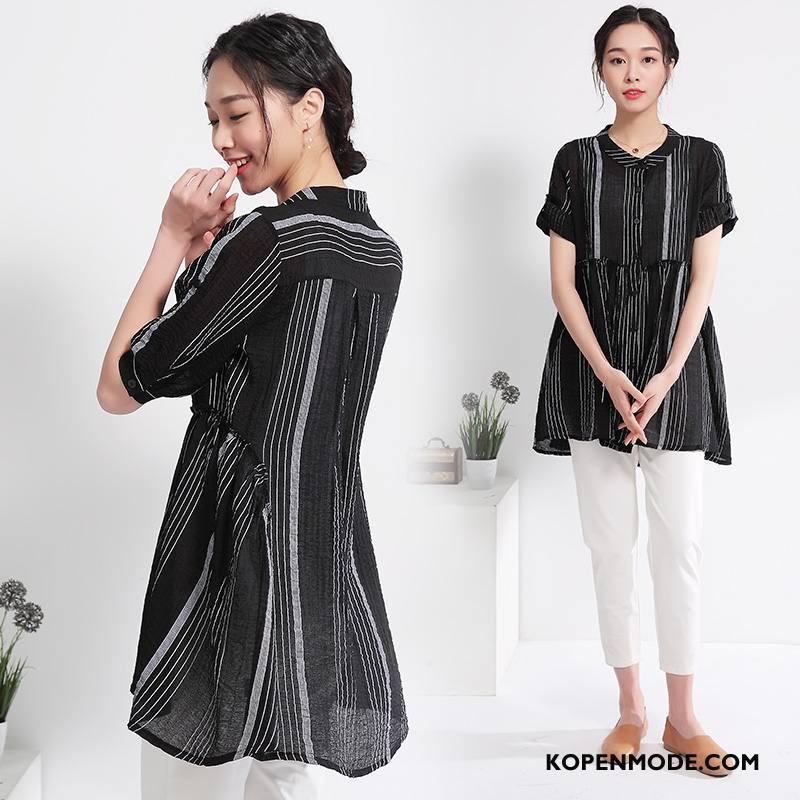 Overhemden Dames Blouse Overhemd Zomer Trend Elegante Mode 2018 Effen Kleur Zwart