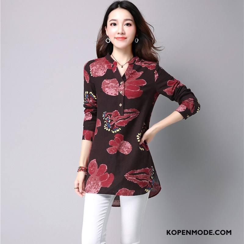 Overhemden Dames Casual Plant Mode Blouse Overhemd Herfst Elegante Rood
