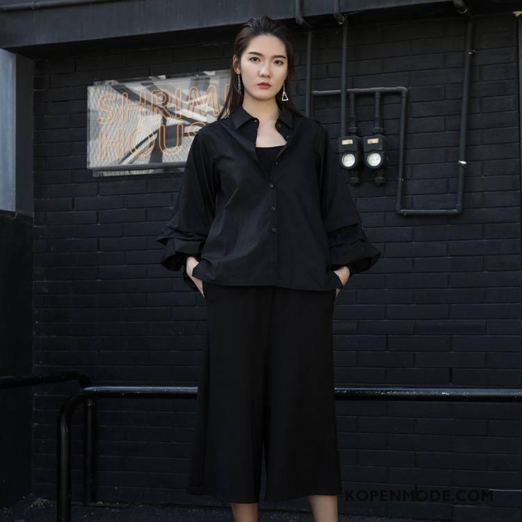 Overhemden Dames Comfortabele 2018 Lange Mouwen Blouse Overhemd Voorjaar Plooien Effen Kleur Zwart