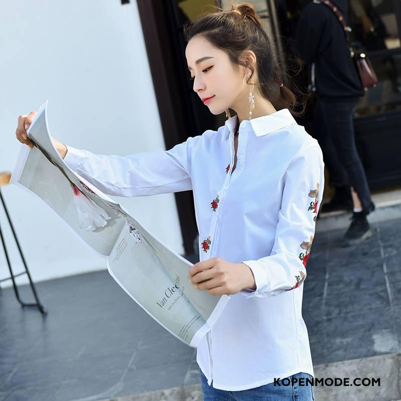 Overhemden Dames Eenvoudige Bedrukken Voorjaar Elegante Blouse Overhemd Mode Effen Kleur Wit