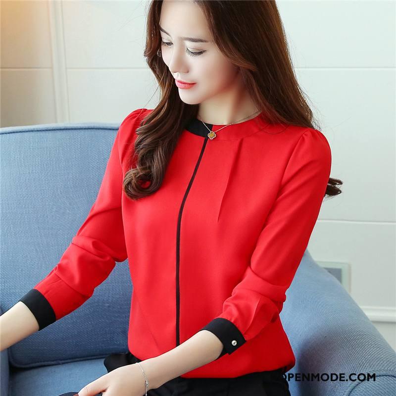 Overhemden Dames Eenvoudige Mode Slim Fit Dunne Voorjaar Blouse Overhemd Rood