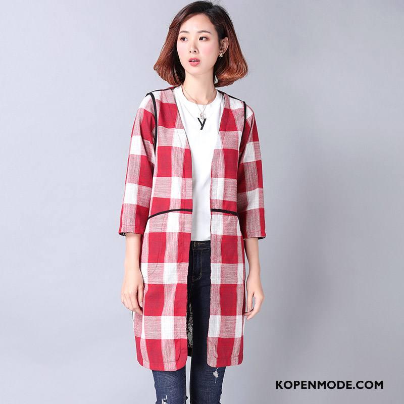 Overhemden Dames Elegante Blouse Overhemd Mode Katoen Slim Fit Rechtdoor Rood