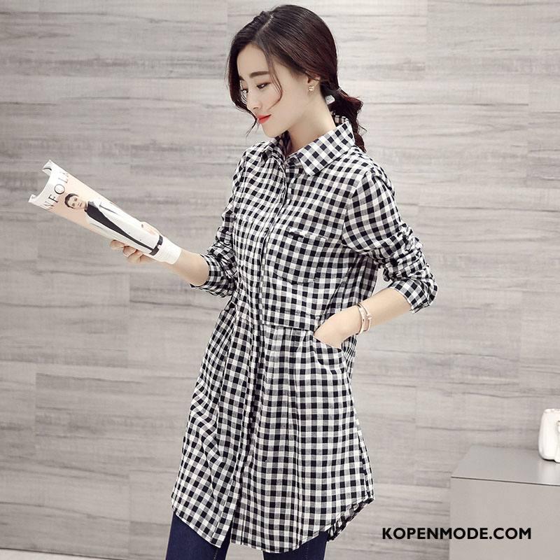 Overhemden Dames Elegante Mode Eenvoudige Trend Groot Voorjaar Grijs