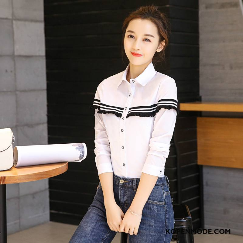 Overhemden Dames Herfst Blouse Overhemd Eenvoudige Mode Dunne Slim Fit Effen Kleur Wit