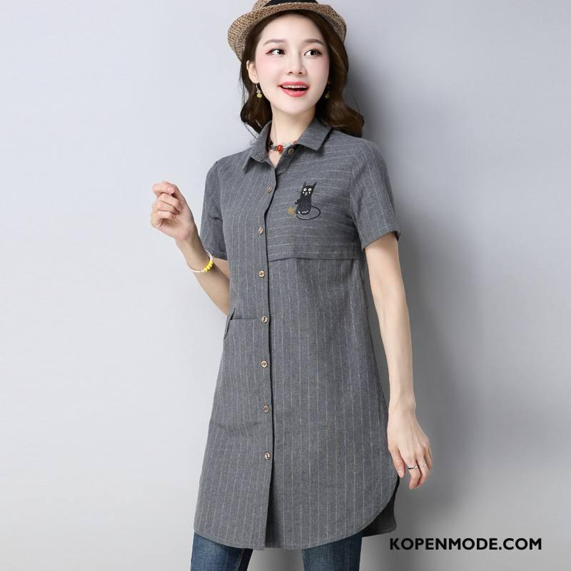 Overhemden Dames Korte Mouw Blouse Overhemd Zoet 2018 Zomer Mode Grijs
