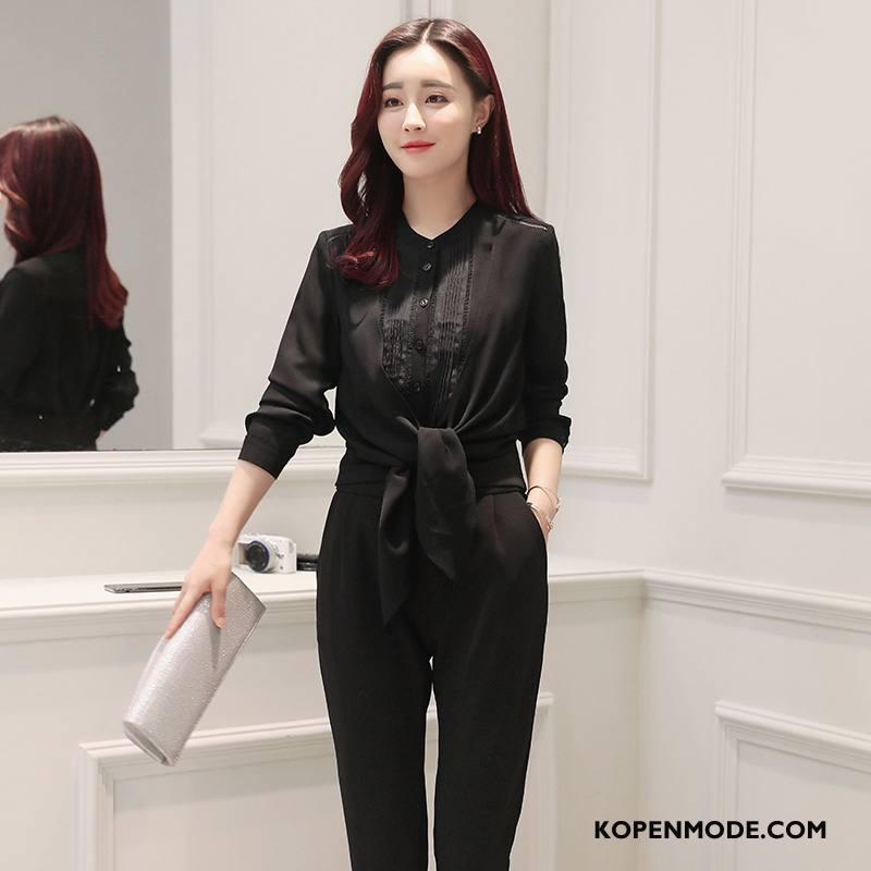 Overhemden Dames Mode Elegante Met Één Rij Knoppen Casual Trend Lange Mouwen Effen Kleur Zwart