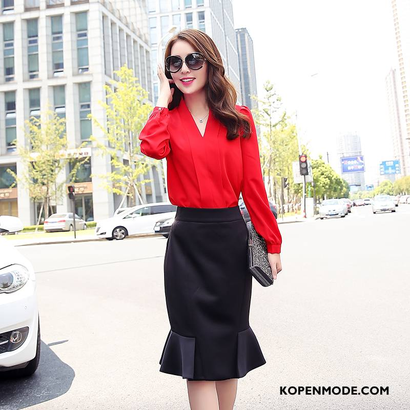Overhemden Dames Mode Lange Mouwen Blouse Overhemd Herfst Vrouwen Effen Kleur Rood