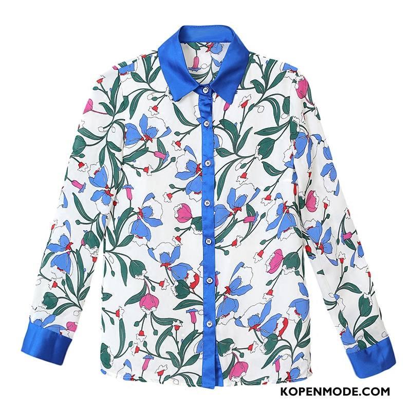 Overhemden Dames Mooi Blouse Overhemd Voorjaar Dunne Elegante 2018 Blauw