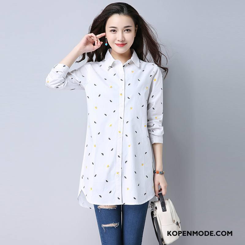 Overhemden Dames Nieuw Mode Lange Mouwen Blouse Overhemd 2018 Bedrukken Wit