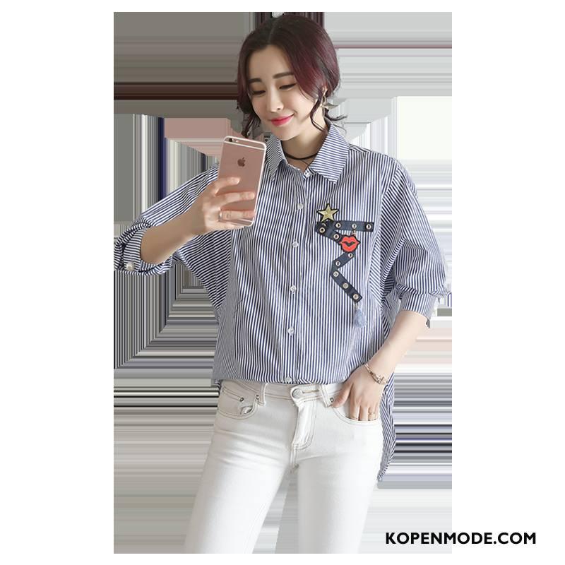 Overhemden Dames Rechtdoor 2018 Eenvoudige Blouse Overhemd Lange Mouwen Streep Blauw
