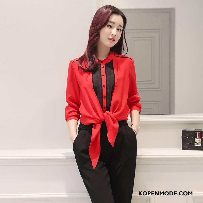 Overhemden Dames Rechtdoor 2018 Voorjaar Plooien Verbinding Mode Effen Kleur Rood