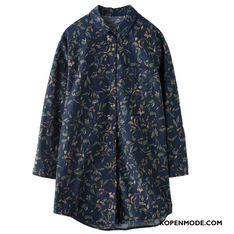 Overhemden Dames Rechtdoor Blouse Overhemd Zoet Streep 2018 Mouw Marineblauw