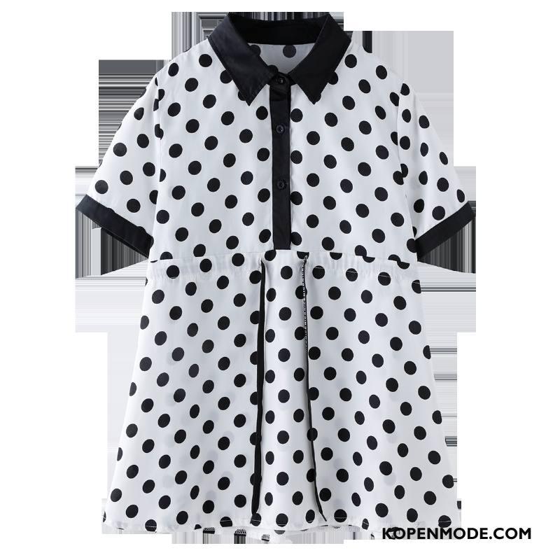 Overhemden Dames Stip Dunne Ronde Hals Elegante Blouse Overhemd Slim Fit Effen Kleur Wit