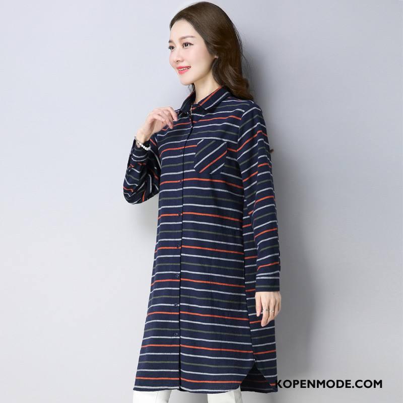 Overhemden Dames Streep Zoet 2018 Rechtdoor Lang Elegante Blauw Rood