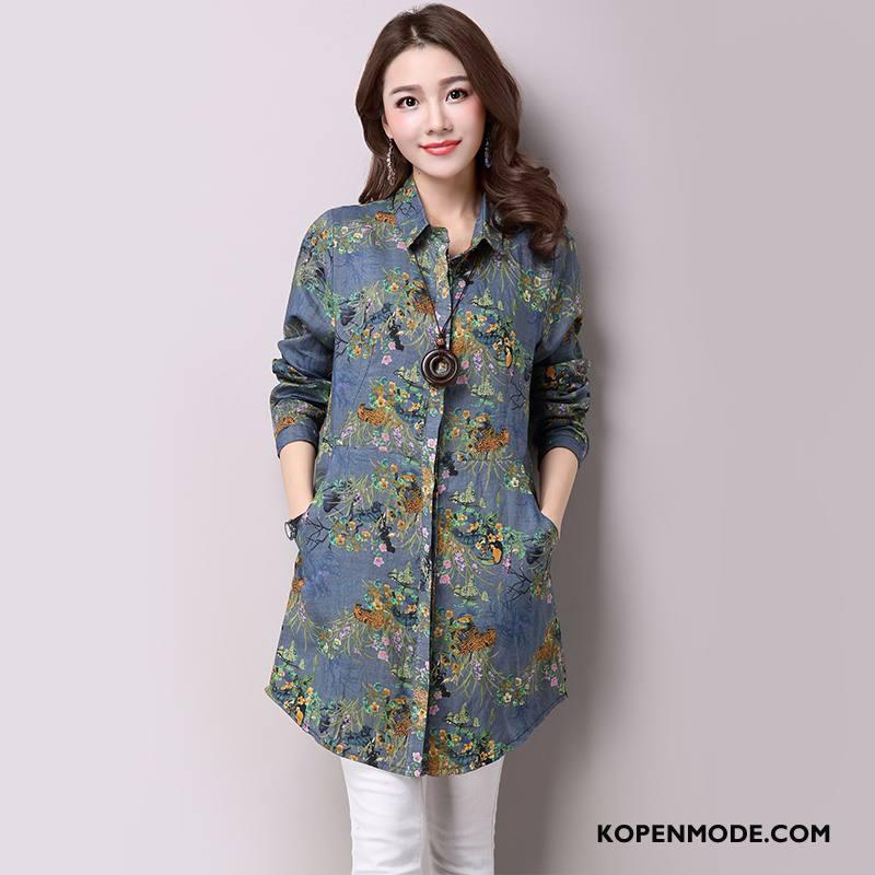 Overhemden Dames Vintage Blouse Overhemd Bedrukken 2018 Hoge Kraag Katoen En Linnen Marineblauw