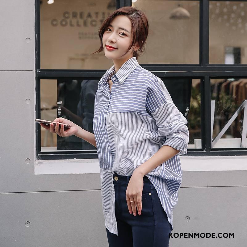 Overhemden Dames Voorjaar 2018 Blouse Overhemd Lange Mouwen Mode Eenvoudige Effen Kleur Blauw