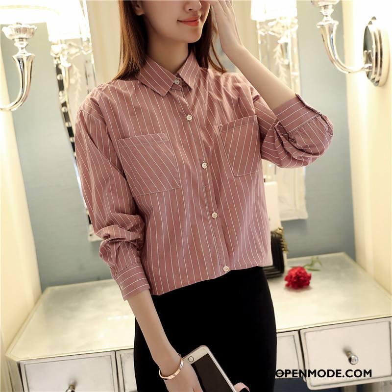 Overhemden Dames Voorjaar Blouse Overhemd Zoet Mode Geruit Lange Mouwen Roze Rood Effen Kleur