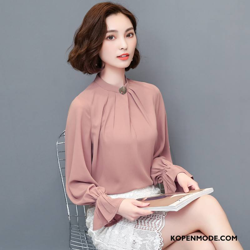 Overhemden Dames Zoet Elegante Herfst Mouw Plooien Ontwerp Effen Kleur Roze