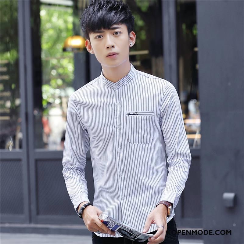 Overhemden Heren Bedrukken Hoge Kraag Mannen Trend Herfst Bedrijf Wit