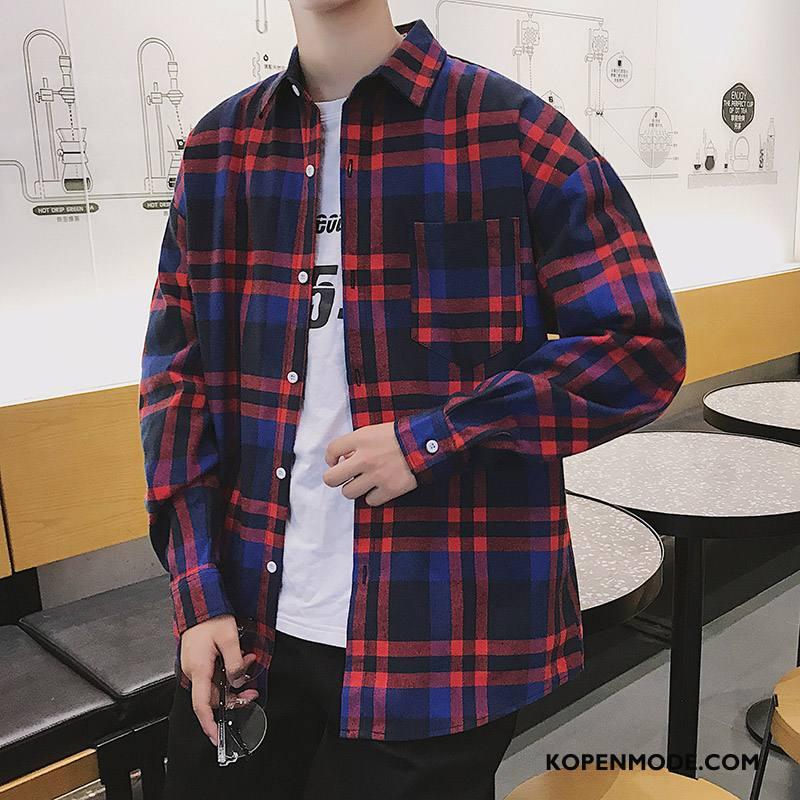 Overhemden Heren Casual Losse Lange Mouwen Herfst Trend Nieuw Rood