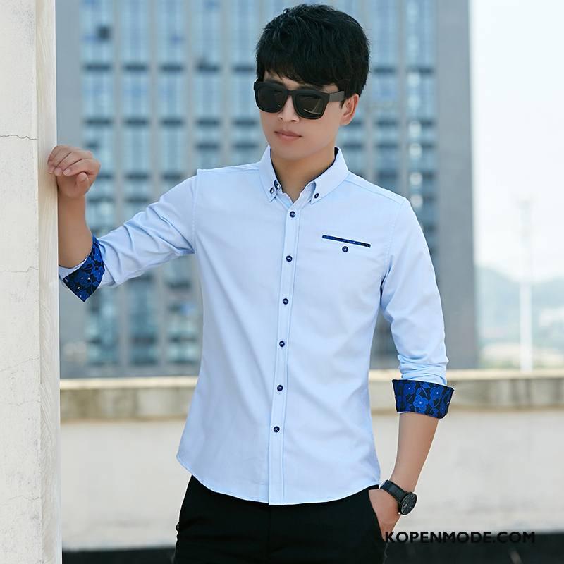 Overhemden Heren Casual Nieuw Verbinding Lange Mouwen Slim Fit Mannen Wit