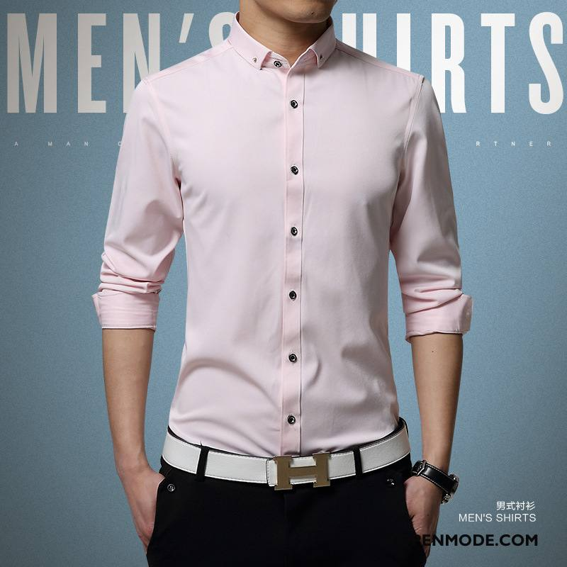 Heren Overhemd Roze.Overhemden Heren Casual Zijde Voorjaar Slim Fit 2018 Lange Mouwen